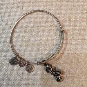 Silver Alex and Ani Motorcycle charm bracelet